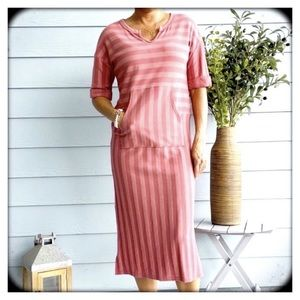 hP] CHARLI RED STRIPED FRONT POCKET DRESS